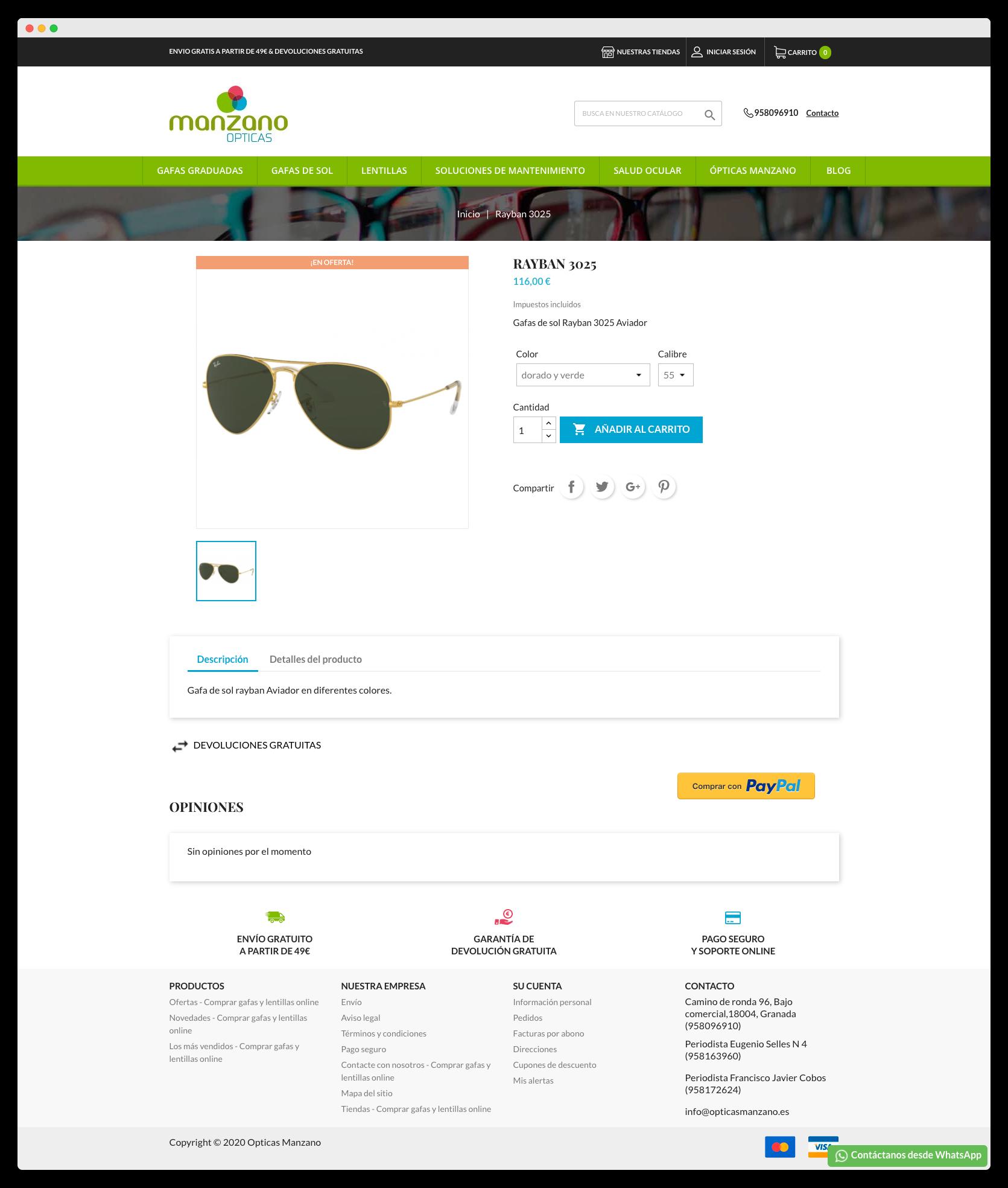 Imagen adicional 2 del proyecto Tienda Online Opticas Manzano